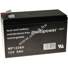 Powery ólom akku MP1236H szünetmenteshez APC Back-UPS BK350-UK 12V 9Ah (7,2Ah/7Ah is)